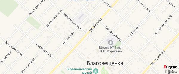 Чапаевский переулок на карте поселка Благовещенки с номерами домов