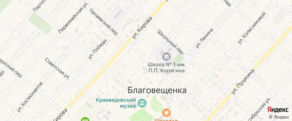 Комсомольская улица на карте поселка Благовещенки с номерами домов
