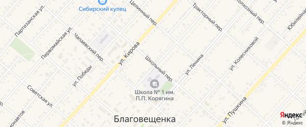 Школьный переулок на карте поселка Благовещенки с номерами домов