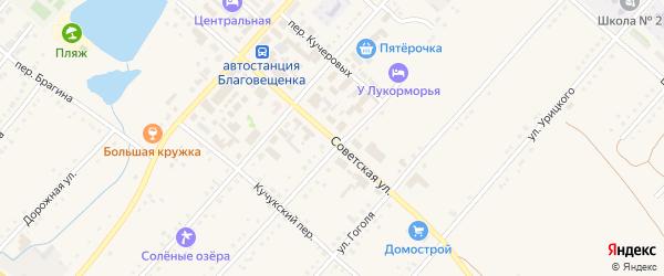 Советская улица на карте поселка Благовещенки с номерами домов