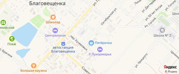 Октябрьская улица на карте поселка Благовещенки с номерами домов