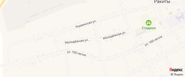 Молодежная улица на карте села Ракиты с номерами домов