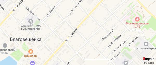Целинный переулок на карте поселка Благовещенки с номерами домов