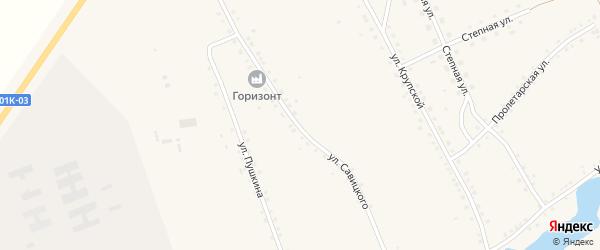 Улица Савицкого на карте села Ракиты с номерами домов