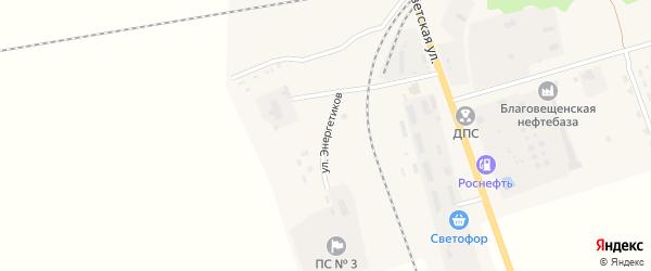 Улица Энергетиков на карте поселка Благовещенки с номерами домов