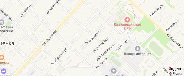 Линейная улица на карте поселка Благовещенки с номерами домов