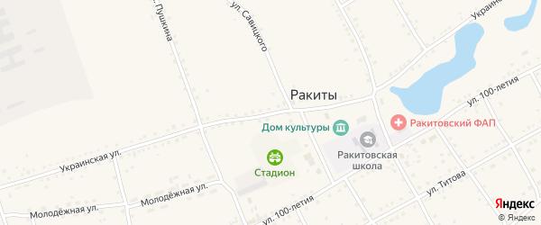 Украинская улица на карте села Ракиты с номерами домов