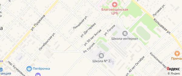 50 лет Алтая улица на карте поселка Благовещенки с номерами домов