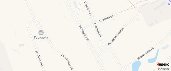 Улица Крупской на карте села Ракиты с номерами домов