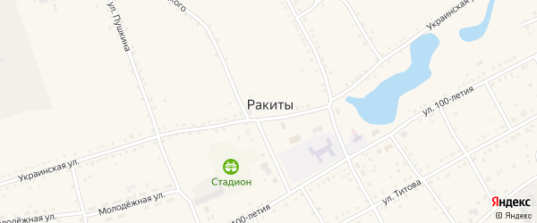 Улица 100-летия на карте села Ракиты с номерами домов