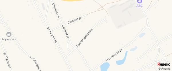 Пролетарская улица на карте села Ракиты с номерами домов