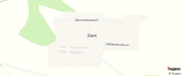 Хабарская улица на карте поселка Зари с номерами домов