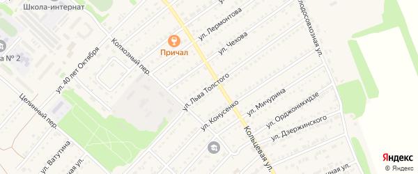 Улица Л.Толстого на карте поселка Благовещенки с номерами домов