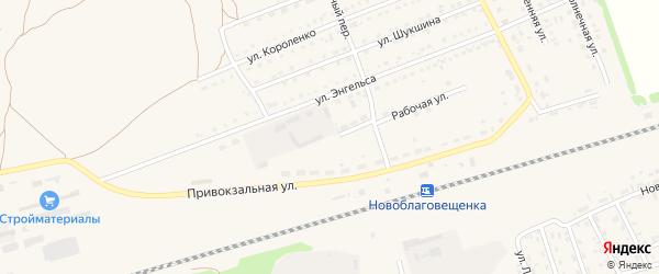 Рабочая улица на карте поселка Благовещенки с номерами домов