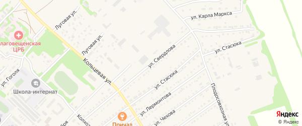 Улица Свердлова на карте поселка Благовещенки с номерами домов