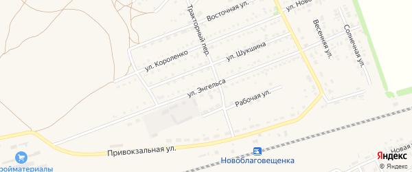 Улица Энгельса на карте поселка Благовещенки с номерами домов