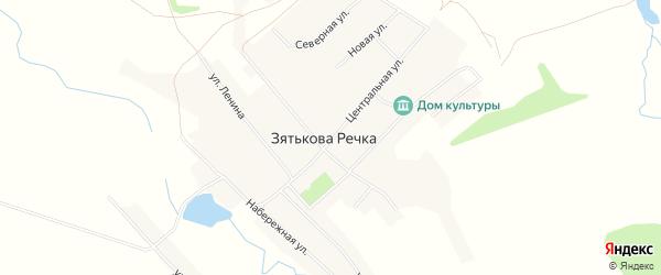 Карта села Зятьковой Речки в Алтайском крае с улицами и номерами домов