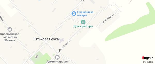 Юбилейная улица на карте села Зятьковой Речки с номерами домов