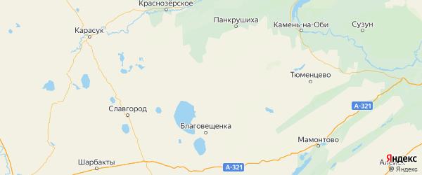 Карта Суетского района Алтайского края с городами и населенными пунктами