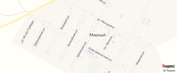 Целинная улица на карте Мирного поселка с номерами домов