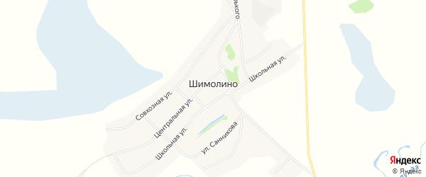 Карта села Шимолина в Алтайском крае с улицами и номерами домов