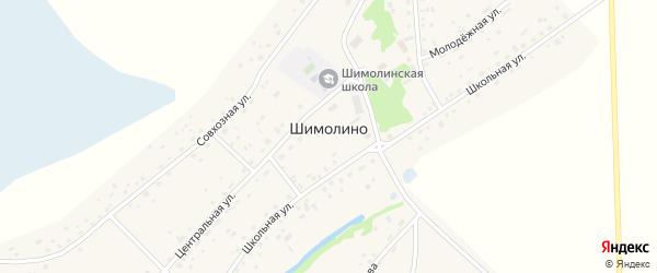 Совхозная улица на карте села Шимолина с номерами домов
