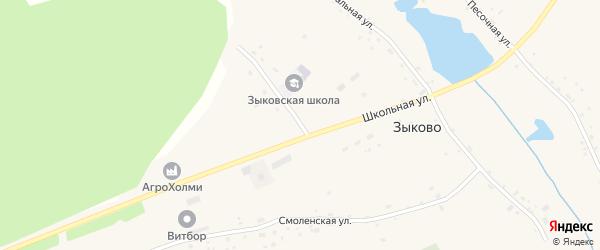 Школьная улица на карте села Зыково с номерами домов