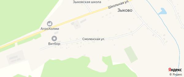 Смоленская улица на карте села Зыково с номерами домов