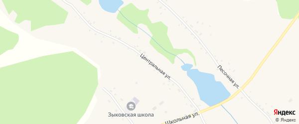 Центральная улица на карте села Зыково с номерами домов