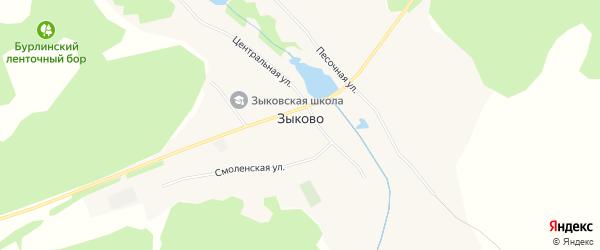 Карта села Зыково в Алтайском крае с улицами и номерами домов