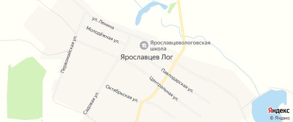 Карта села Ярославцева Лога в Алтайском крае с улицами и номерами домов