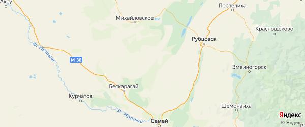 Карта Угловского района Алтайского края с населенными пунктами и городами
