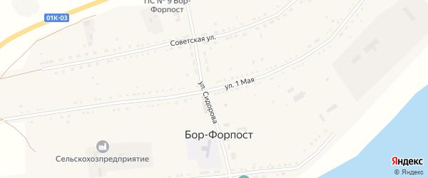 1 Мая улица на карте села Бора-Форпоста с номерами домов