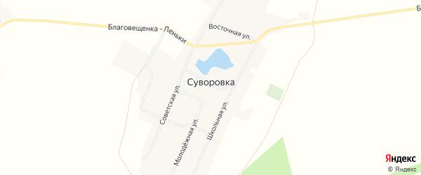 Карта села Суворовки в Алтайском крае с улицами и номерами домов