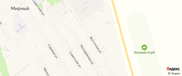Восточная улица на карте Мирного поселка с номерами домов
