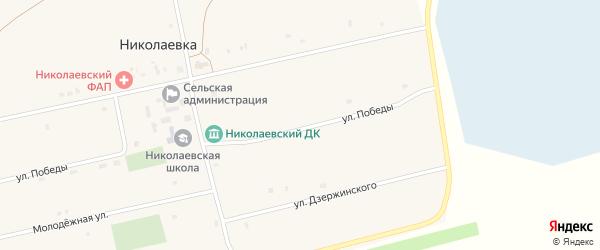Улица Дзержинского на карте села Николаевки с номерами домов