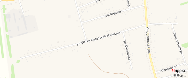 Улица 60 лет Советской Милиции на карте села Родино с номерами домов