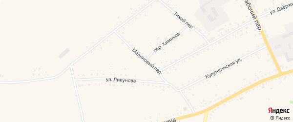 Малиновый переулок на карте села Родино с номерами домов