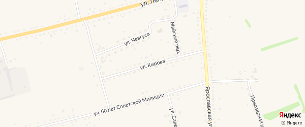 Улица Кирова на карте села Родино с номерами домов