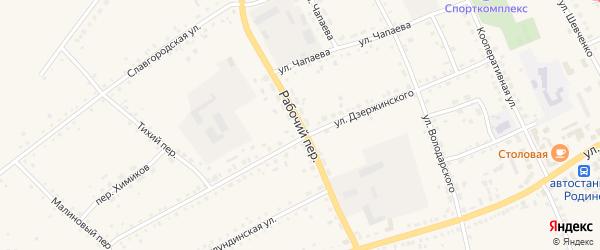 Рабочий переулок на карте села Родино с номерами домов