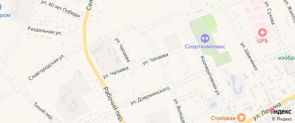 Улица Чапаева на карте села Родино с номерами домов