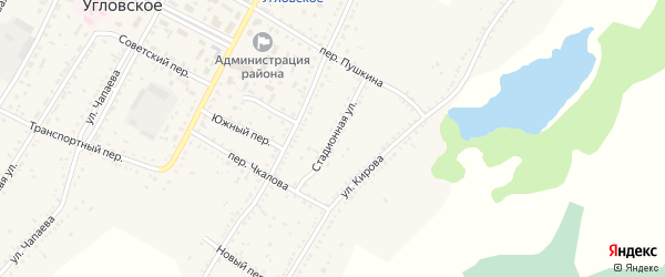 Стадионная улица на карте Угловского села с номерами домов
