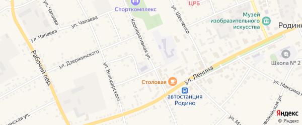 Кооперативная улица на карте села Родино с номерами домов