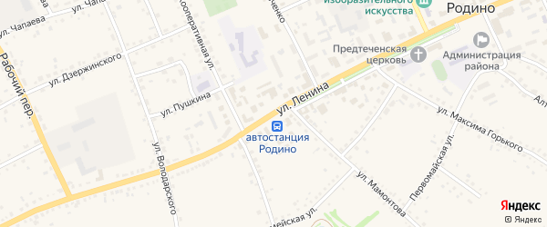 Улица Ленина на карте села Родино с номерами домов