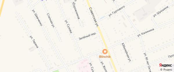 Зеленый переулок на карте села Родино с номерами домов