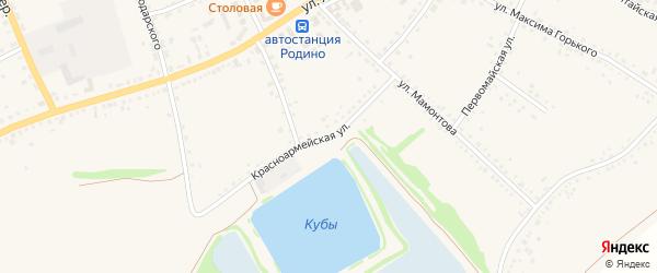 Красноармейская улица на карте села Родино с номерами домов