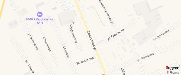 Советская улица на карте села Родино с номерами домов