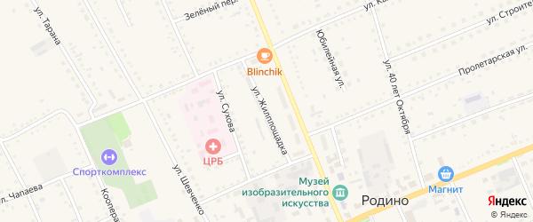 Улица Жилплощадка на карте села Родино с номерами домов