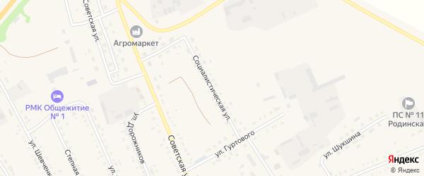 Социалистическая улица на карте села Родино с номерами домов