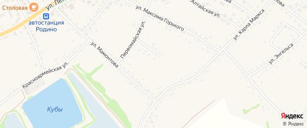 Целинный переулок на карте села Родино с номерами домов